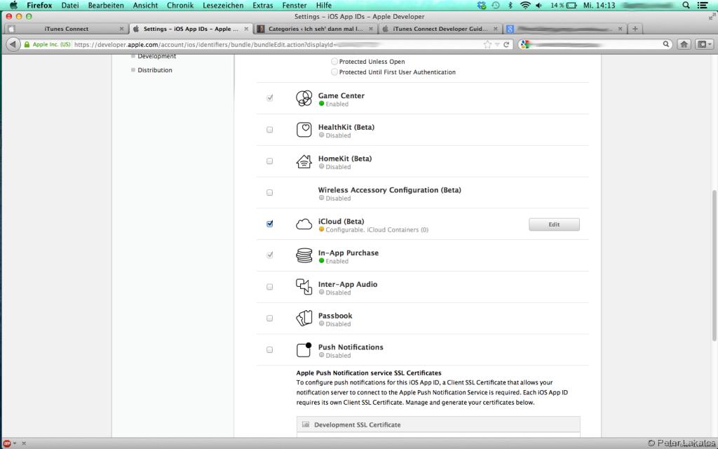 Developer -> App IDs -> iCloud Einstellungen