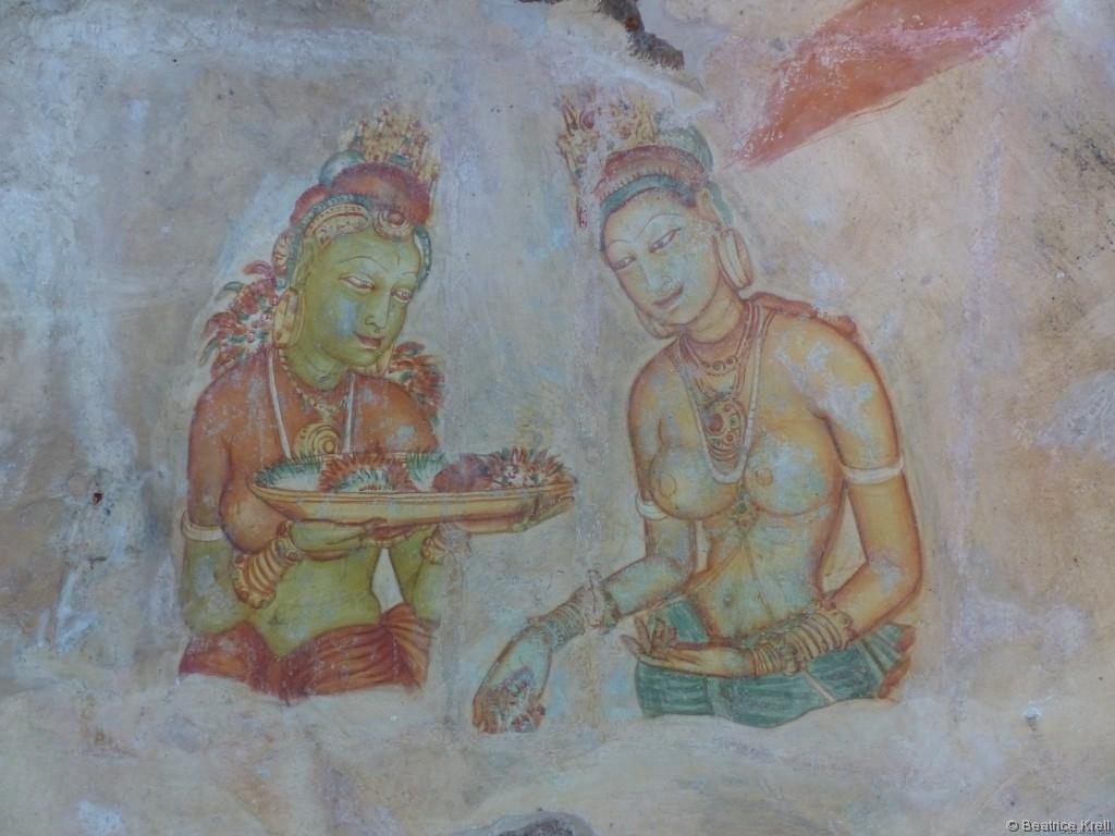 Restaurierte Fresken in Sigiriya