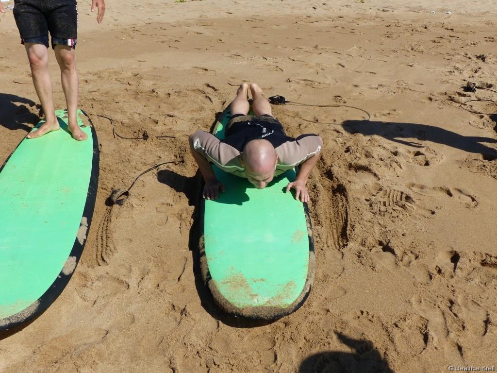 Zuerst gab es Trockenübungen am Strand.