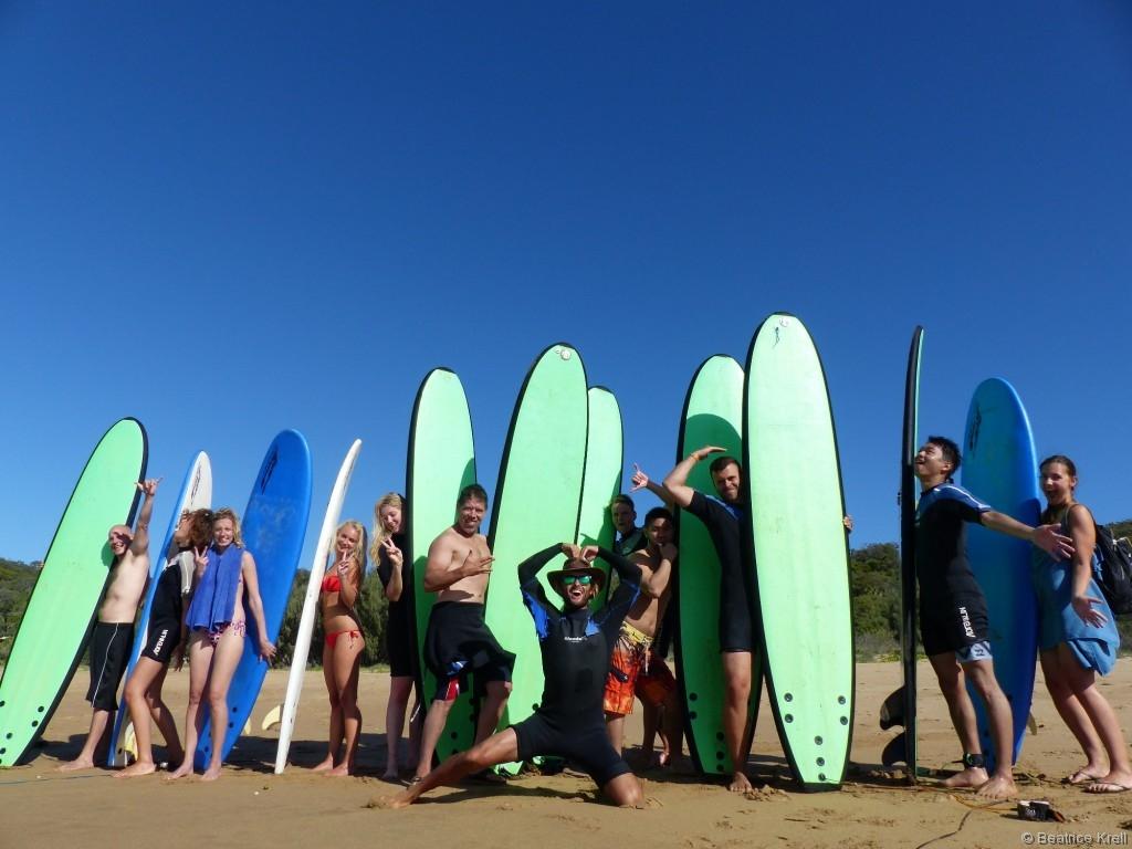 Eine feucht-fröhliche Erfahrung war unser Surfschnupperkurs in Agnes Water.
