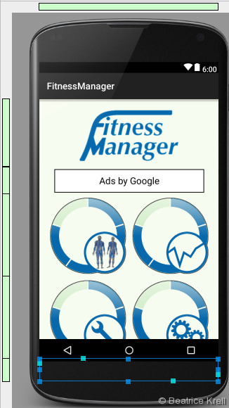 Fitness Manager start screen displayed in Android Studio Designer