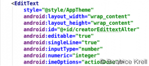 XML Layout definition for EditText